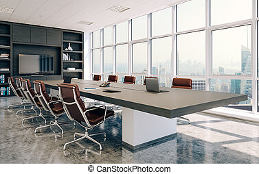 会議, 内部, 現代部屋, 3d