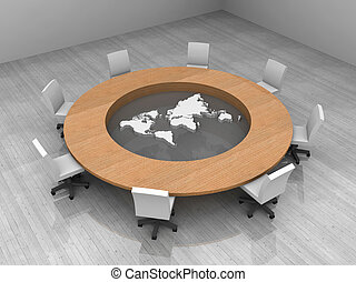 会議, 地図, 部屋, イラスト, 世界, テーブル, ラウンド