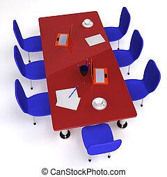 会議, 椅子, 部屋, 満たされた, 机