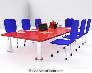 会議, 椅子, 部屋, 赤い机