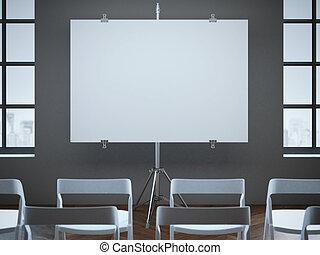 会議, 横列, 部屋, スクリーン, chairs., ブランク