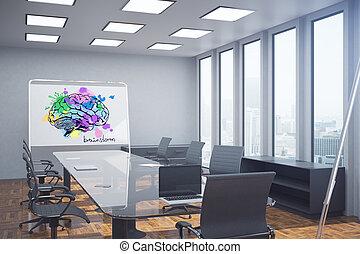会議, 脳, スケッチ, 部屋