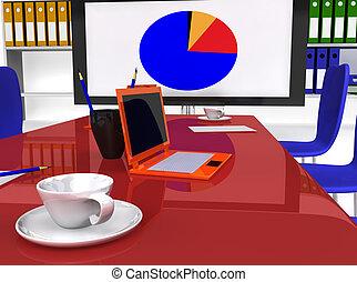 会議, 装置, 仕事の部屋, 机