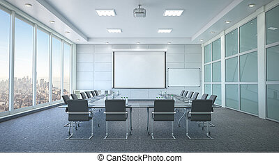 会議, interior., 部屋, イラスト, 3d