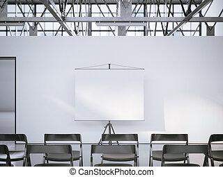 会議, room., スクリーン, レンダリング, 白, プレゼンテーション, ローラー, 3d