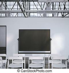 会議, room., 現代, レンダリング, 黒, 板, ブランク, 3d