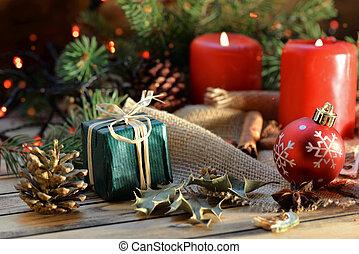 伝統的である, ライト, 木製である, クリスマス, ぼやけ, 背景, 装飾, 蝋燭, 贈り物