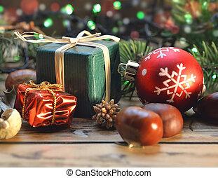 伝統的である, ライト, 箱, 贈り物, 木製である, クリスマス, 背景, テーブル, 装飾