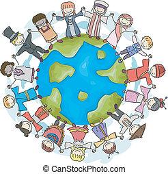伝統的である, 地球, 子供, 衣装
