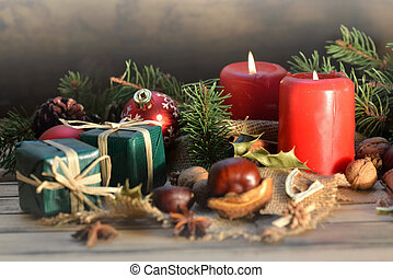 伝統的である, 木製である, クリスマス, 背景, 装飾, 蝋燭, 贈り物