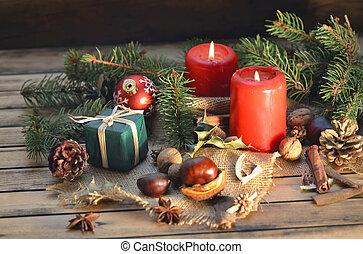 伝統的である, 箱, 贈り物, 木製である, クリスマス, テーブル, 装飾, 蝋燭