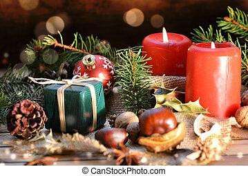 伝統的である, 蝋燭, ぼやけ, 木製である, 贈り物, 装飾, クリスマス, 背景
