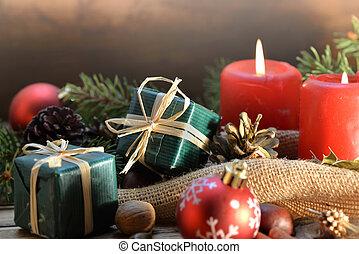 伝統的である, 蝋燭, 木製である, 贈り物, 装飾, クリスマス, 背景