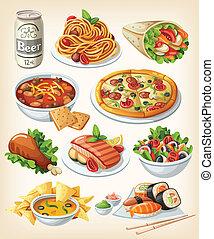 伝統的である, 食物, セット, icons.