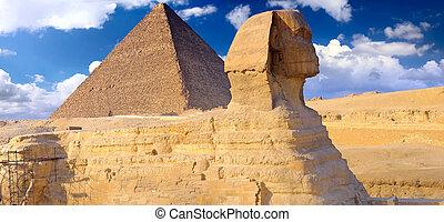 位置を定められた, ピラミッド, パノラマ, sphinx., ギザ