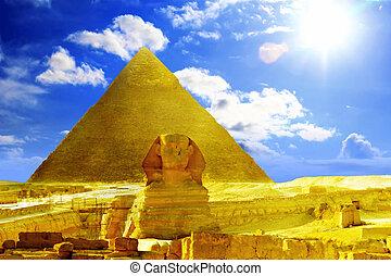 位置を定められた, ピラミッド, ファラオ, 偉人, egypt., sphinx., khufu, ギザ