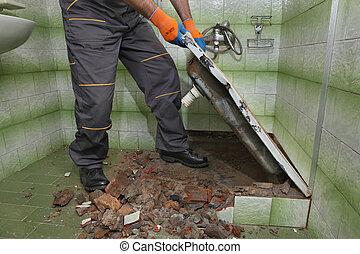 住宅改修, 浴室, demolish