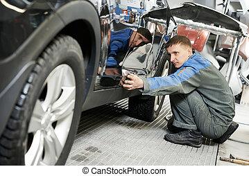 体, 自動車, 点検, 自動車, ペンキ