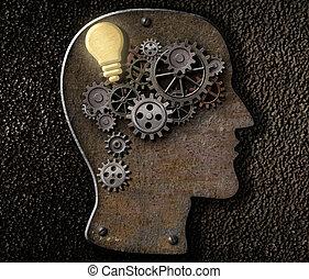 作られた, ギヤ, コグ, 金属, 考え, メカニズム, 脳, ランプ, 電球