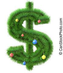 作られた, ブランチ, 木, シンボル, ドル, クリスマス