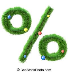 作られた, ブランチ, 木, シンボル, パーセント, クリスマス
