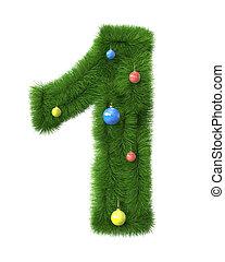 作られた, ブランチ, 木, 数1, クリスマス