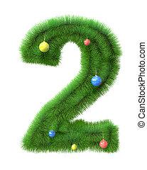 作られた, ブランチ, 木, 数2, クリスマス