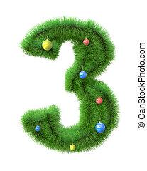 作られた, ブランチ, 木, 数3, クリスマス