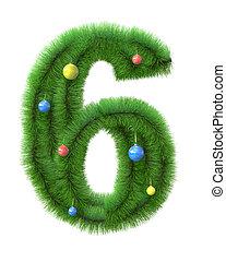 作られた, ブランチ, 木, 数6, クリスマス