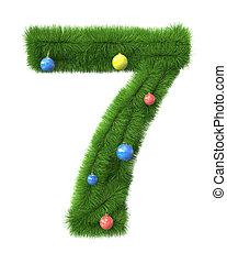 作られた, ブランチ, 木, 数7, クリスマス