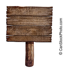 作られた, 古い, 木製である, wood., 印, board., ポスト, パネル