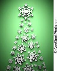 作られた, 木, クリスマス, 雪片
