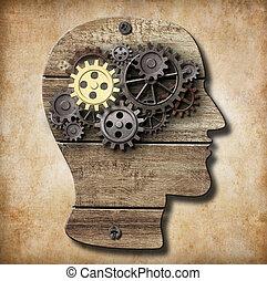 作られた, 金, 金属, 1(人・つ), 脳, 錆ついた, ギヤ, モデル