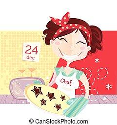 作成, クッキー, 女, クリスマス