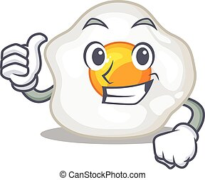 作成, ジェスチャー, 親指, 卵, 揚げられている, 面白い, の上