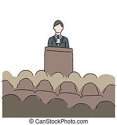作成, スピーチ, 公衆, 人