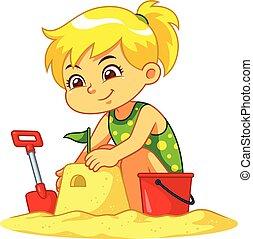 作成, 女の子, 城, 砂