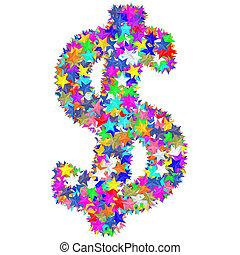 作曲された, カラフルである, アルファベット, シンボル, ドル記号, 星