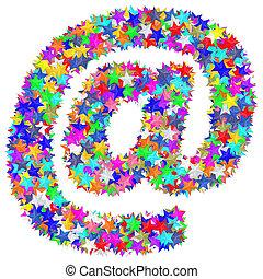 作曲された, カラフルである, アルファベット, シンボル, 商業 印, 電子メール, 星, ∥あるいは∥