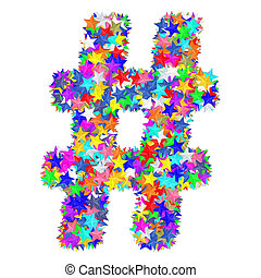 作曲された, カラフルである, アルファベット, シンボル, 番号記号, 星