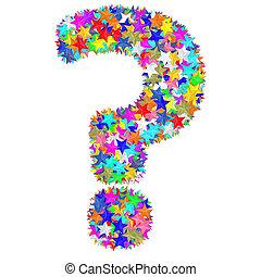 作曲された, カラフルである, アルファベット, シンボル, 質問, 印, 星