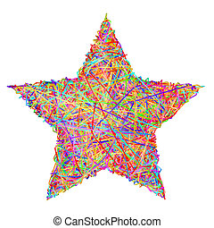 作曲された, 星, striplines, カラフルである, 隔離された, 印, 白