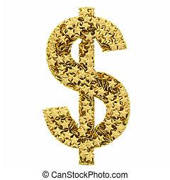 作曲された, 金, ドル, 隔離された, 印, 星, 白