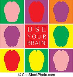 使用, カラフルである, 脳, ベクトル, あなたの, アイコン