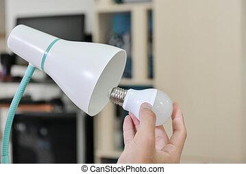 使用, ランプ, リードした, 電気エネルギー, 選ばれる, -, ランプ, 変化する, セービング, 電球