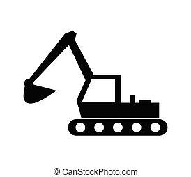例証された, ベクトル, 掘削機, 白い背景, アイコン