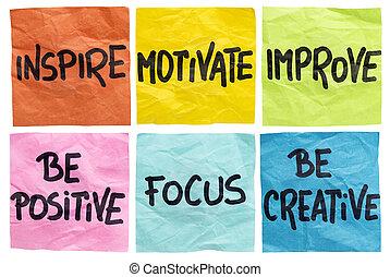促しなさい, 動機を与えなさい, メモ, 改良しなさい