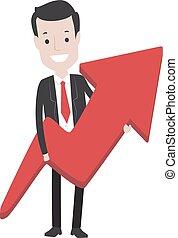 保有物, ビジネス, 上向き矢印, 赤, 人