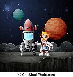 保有物, ヘルメット, ロケット, 宇宙船, 男の子, 宇宙飛行士, 漫画