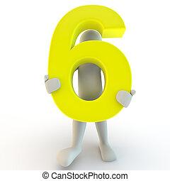 保有物, 人々, 特徴, 数, 黄色, 6, 人間, 小さい, 3d